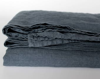 Washed Linen Bed Sheet/ Grey Blue Linen Flat Sheet/ Soft Stonewashed Bedsheets Fitted Sheet/ Cal King Queen Double Single Twin Linen Bedding