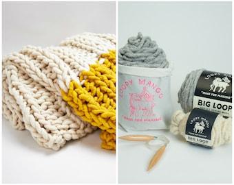 "Loopy Mango DIY Knit Kit - Capri Throw 40""x70"" (100 cm x 177 cm)"