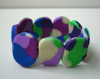 Colourful polymer clay bracelet - Adjustable