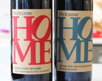 New Home, Open House,Real Estate Closing Gift, Client Gift, Gift Basket Wine Label, Set of 18