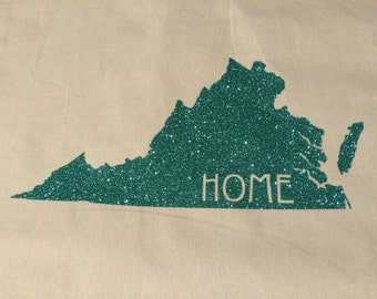 """Virginia """"HOME"""" Tote Bag (Customize with your home state); Sturdy, Canvas Tote"""