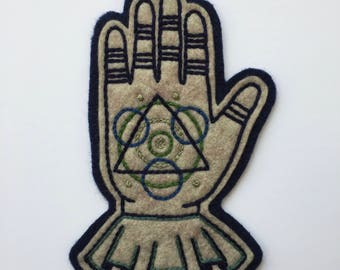 Hand Embroidered Patch, Magic Hand, Wool Acrylic Polyester Blend Felt Sew On Patch. Badge, Symbolism, Masonic. Made to Order- 3 5/8 x 5 7/8