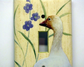 Goose with Flowers -- Recycled Single Light Switch Plate, Upcycled, Photo, Snow Goose, Bird, Collage, Yellow, White, OOAK