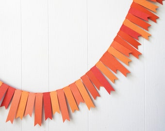 Fall Garland / Thanksgiving Decor / Fall Bunting / Wedding Garland / Orange Bunting / Leaf Garland / Halloween Bunting / Photo Prop