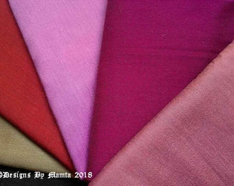 Set Of 5 Dupioni Art Silk Fabric Fat Quarter, Fat Quarter Fabric, Ethnic Fabric, Silk Dupioni Fabric, Fat Quarter Bundle Sale, Pink Fabric