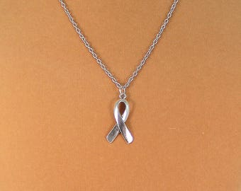 Cancer awareness necklace, survivor necklace, cancer ribbon necklace, gift for her.