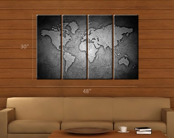 Framed Huge 4 Panel Black and White Stone World Map Giclee Canvas Print - Ready to Hang