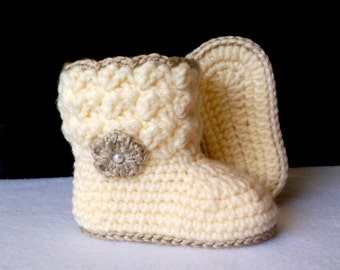 Crochet Baby Booties Cream and Gold Baby Booties Crochet Baby Boots Baby Girl Boots Baby Girl Booties Baby Boots