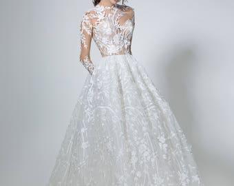 Lace wedding dress in white, Boho wedding dress with sleeves, Simple lace wedding gown, Long bridal dress, Modern handmade wedding dress