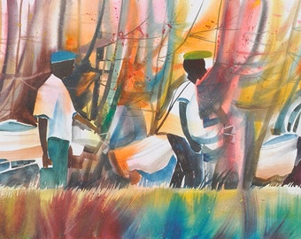 Golf Buddies Watercolor Print, African American Art, Contemporary Art, Golf Art, Abstract Painting, Abstract Art, Gift for Dad, Gift for Him