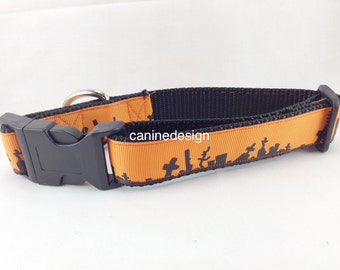 Halloween Dog Collar, Cemetery Dog Collar 1 inch wide, adjustable, quick release, metal buckle, martingale, chain, hybrid, nylon