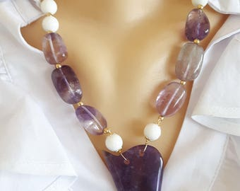 White agate and amethyst gemstone necklace, amethyst pendant necklace