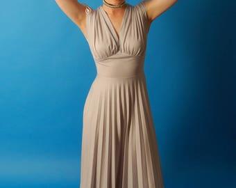 Full length 70s prom dress / gown in light grey