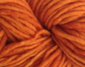 Orange Wool Yarn Bulky Chunky Weight Hand Painted Wool Yarn Pencil Roving in Land Orange 60 yards Hand Dyed