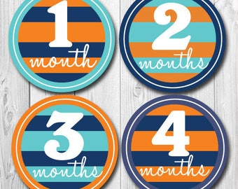 Baby Boy Month Stickers, Monthly Stickers for Baby Boy, Stripes, Tribal, Orange, Navy, Belly to Belly