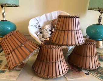 "Vintage Bamboo Lamp Shades, Set of 4,  chandelier lamp shade, 4.25"" H, chandelier, lamp shades, bamboo, faux bamboo at A Vintage Revolution"