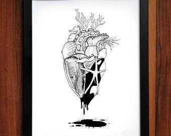 Ocean Heart Art Print, pen and ink, artwork, home decor.