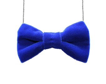 Blue Velvet Large Bow Tie Necklace - Royal Women BowTie Accessory for Her Girls Gift Bridesmaids Favor Party Event Casual Costume