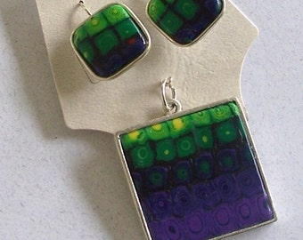 Green and Purple Pixelated Polymer Clay Cane Pendant and Earrings in Metal Bezels by Carol Wilson of Je t'adorn