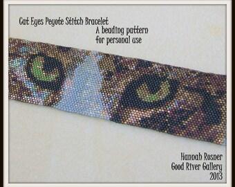 Bead Pattern Cat Eyes Beaded Bracelet peyote stitch tutorial instructions - Hannah Rosner
