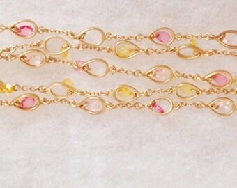 Sweet FEMININE 5 Strand Pink & Citrine Crystal Gold AVON BRACELET