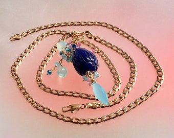 Large Blue Sapphire Pendant  Gold Filled Chain Long Necklace