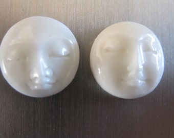 MS Moon Face Closed Eyes Cabochons (2) Cabs 10mm Carved Bone Fair Trade Bali