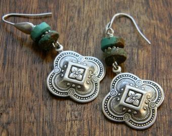Turquoise jewelry bohemian earrings southwestern jewelry quatrefoil turquoise earrings southwest  boho style earrings bohemian jewelry
