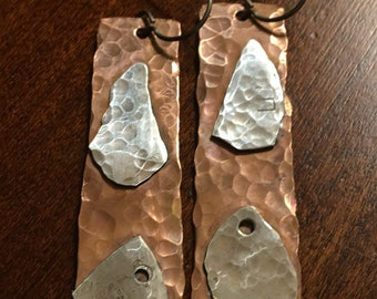 Patchwork Party Earrings - Copper and Sterling Silver