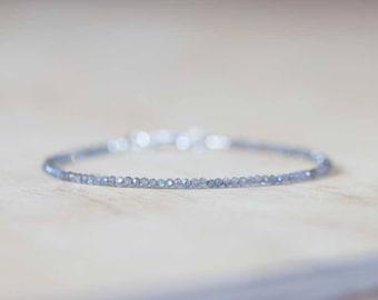 Labradorite Bracelet, Ultra Delicate Minimal Stacking Beaded Grey Gemstone Bracelet, Delicate Labradorite Jewelry, Minimalist Super Skinny