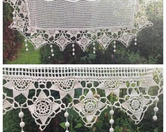 Gorgeous antique french handworked crochet flowers Pom Pom rare mantle shelf cover/ pelmet ~ wonderful display.