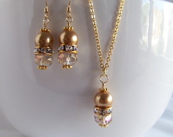 Gold Fill and Pearl Jewelry Set - Bridal Jewelry Set - Gold Pearl Crystal Jewelry Set - Wedding Jewelry - Bridal Jewelry - Gold Pearl Set