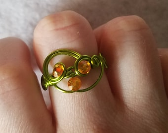 Green and Yellow Hand Wire Wrapped Ring, Gift for her, Handmade, Wire jewelry, Wire, Gemstone, Jewelry, Pretty