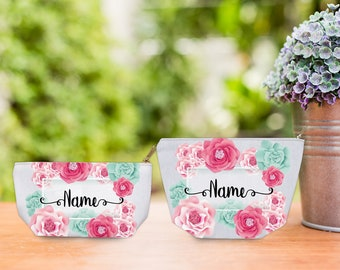 Personalize Floral Cosmetic Pouch, bridesmaid gift, cosmetic pouch, makeup pouch, bridesmaid bag, bridesmaid clutch, bridesmaid makeup