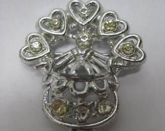 Woman Hearts Rhinestone Brooch Vintage Clear Pin