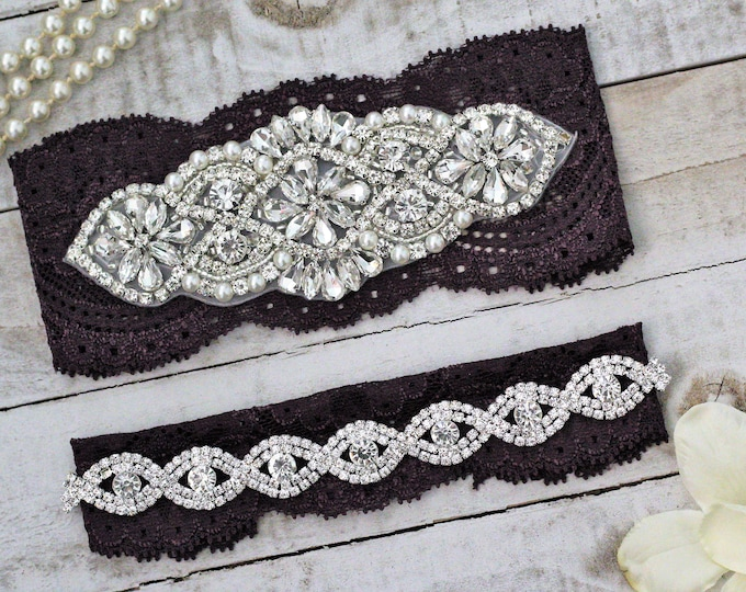 Plum Purple Wedding Garter Set NO SLIP grip, PLUM G01S-G*B19S