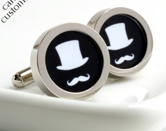 Top Hat and Moustache Cufflinks, Choose Your Colour