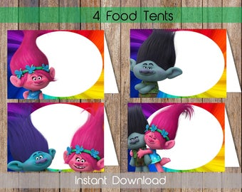 Trolls Food Labels Trolls Food Tent Labels Trolls Candy Labels Trolls Name Cards Trolls Printable Food Tent Cards Instant Download