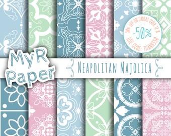 "Pastel Digital Paper: ""Neapolitan Majolica"" Neapolitan Majolica, Moroccan, Arabesque, Pink, Green & Light Blue"