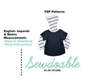 Hooded Twofer Tee Pdf Pattern 3/6M- 6Y