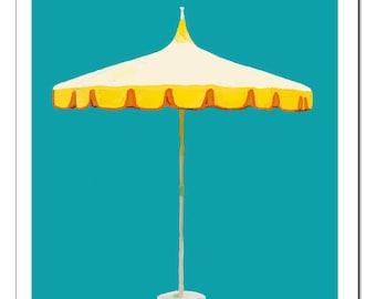 Palm Springs Umbrella-Pop Art Print