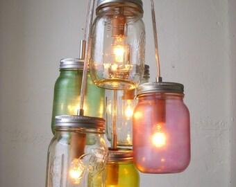 Mason Jar Chandelier, Rustic Hanging Mason Jar Pendant Lighting Fixture, 6 Jars in Pastel Colors, Bulbs Included
