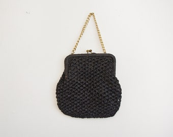 Vintage Raffia Purse, 60s Black Purse, 1960s Handbag, Chain Handle Purse, Woven Purse, Small Purse, Black Handbag