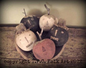 SALE!!  Pumpkin and Scarecrow heads -  pattern by TFC Folkart