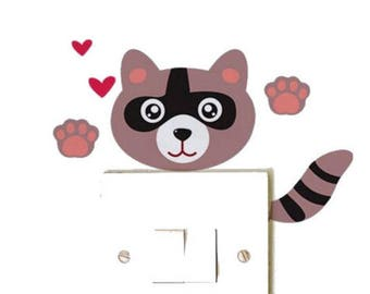 1 Sticker raccoon switch or outlet