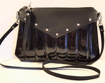Black Vinyl Purse, Crossbody Bag, Vinyl Purse, Rockabilly, Vegan Leather - MADE TO ORDER