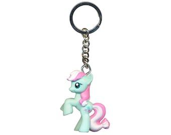 My keychain with little minty pony plastic charm