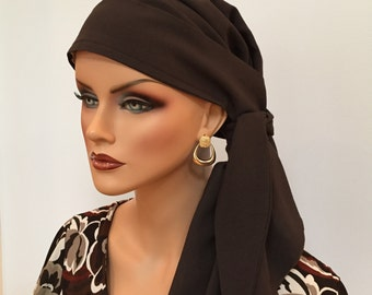 Carlee Pre-Tied Head Scarf, Women's Cancer Headwear, Chemo Scarf, Alopecia Hat, Head Wrap, Head Cover for Hair Loss - Dark Brown