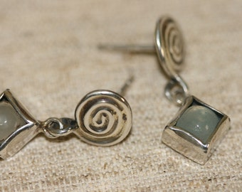 Silver Earrings, Blue Caldony Silver Earrings, Silver Jewelry, Handmade 925 Silver Earrings, Blue Stone Earrings,