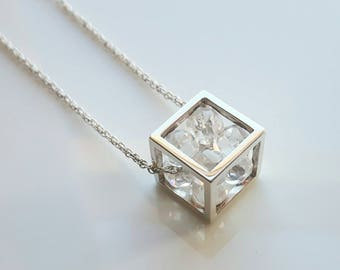 Sterling Silver Cube Pendant with Cubic Zirconia Beads